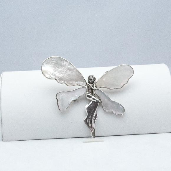 Mother of Pearl Winged Angel in Sterling