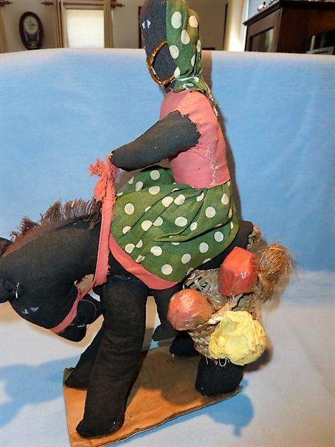 PRIMITIVE BLACK WOMAN RIDING A HORSE RAG DOLL