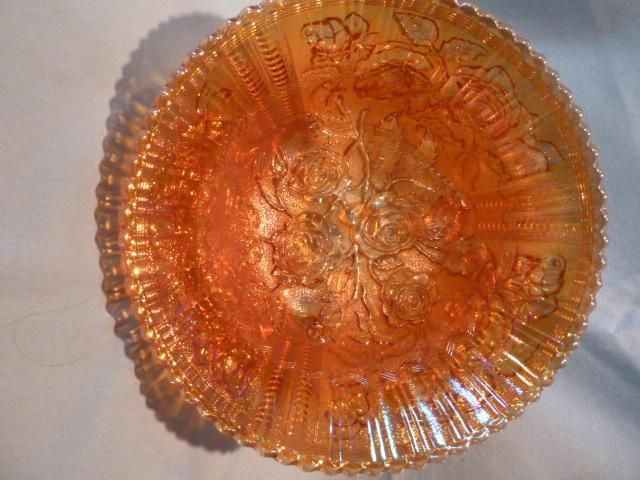BEAUTIFUL MARIGOLD CARNIVAL  IMPERIAL LUSTER ROSE 3 TOED LARGE BOW