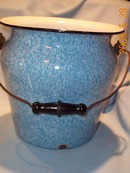 GRANITEWARE BLUE AND WHITE CHAMBER POT