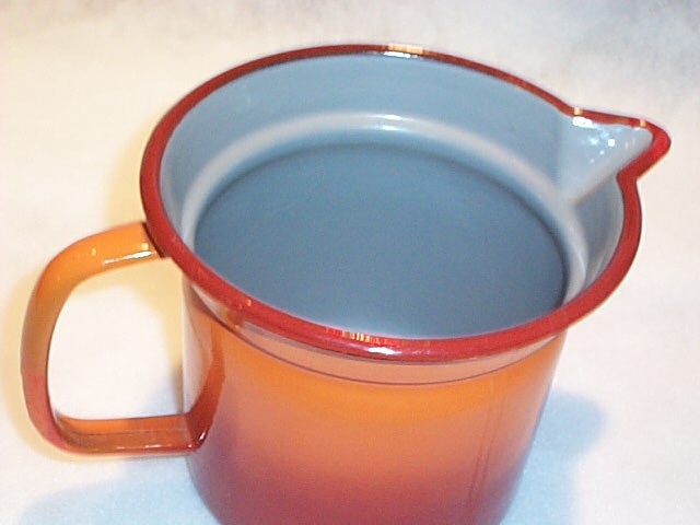 European  Orange to Red Graniteware Enamel Cream  Pitcher