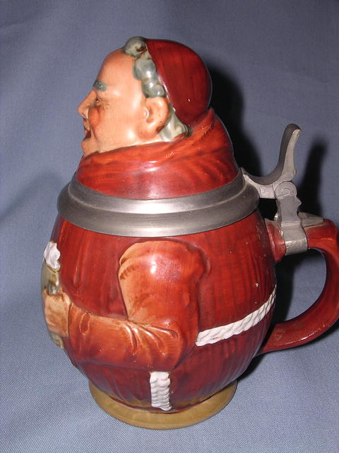 GERMAN MONK WITH BIBLE LIDDED STEIN
