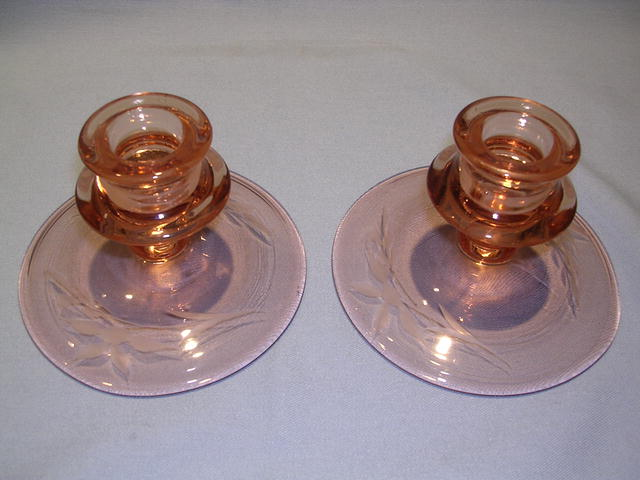 PINK DEPRESSION ETCHED CANDLESTICK PAIR