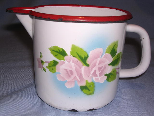 EUROPEAN GRANITEWARE ENAMEL PITCHER WITH ROSES