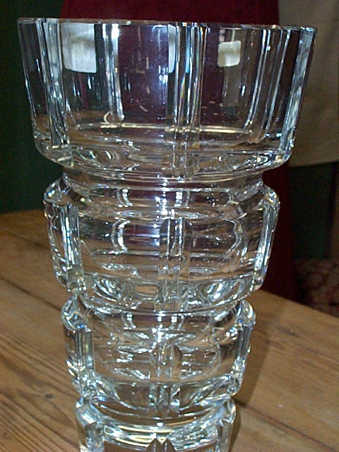 Large Lead Crystal Square Cut Crystal Vase Czech
