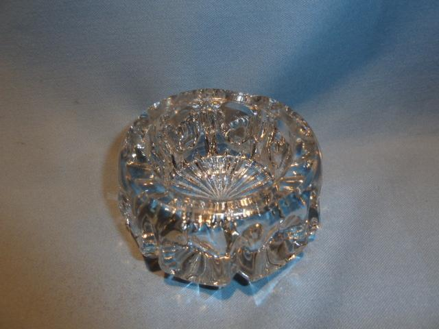 ANTIQUE HEAVY GLASS   CRYSTAL THUMBPRINT DESIGN MASTER SALT