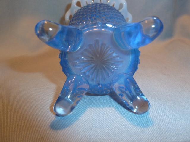 FENTON DIAMOND BLUE OPALESCENT OPEN EDGE VASE