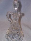 PRESSED GLASS LEAF AND DIAMOND  CUT CRUET W/TOP