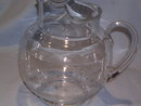 LARGE CLEAR  FLOWER  ETCHED GLASS ICE LIP PITCHER