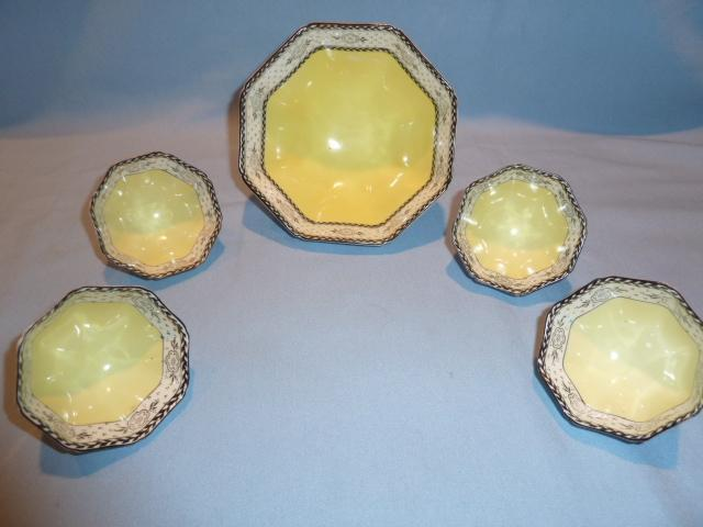ANTIQUE NIPPON MORIMURA 5 PC OCTAGON SHAPE NUT SERVING SET YELLOW