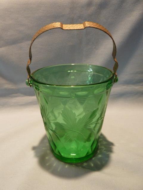 GREEN DEPRESSION GLASS ETCHED FLORAL ICE BUCKET