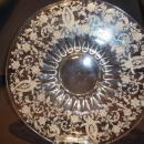 VINTAGE VIKING ECHTED CRYSTAL  PRELUDE 2 PC FOOTED CHEESE AND CRACKER SERVER