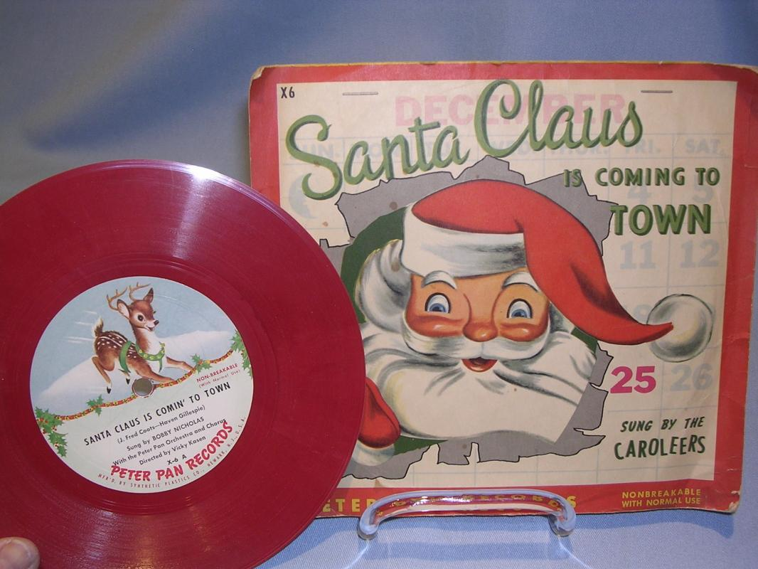 SANTA CLAUS IS COMING TO TOWN CHILD'S 78 RPM RED VINYL Peter Pan Record