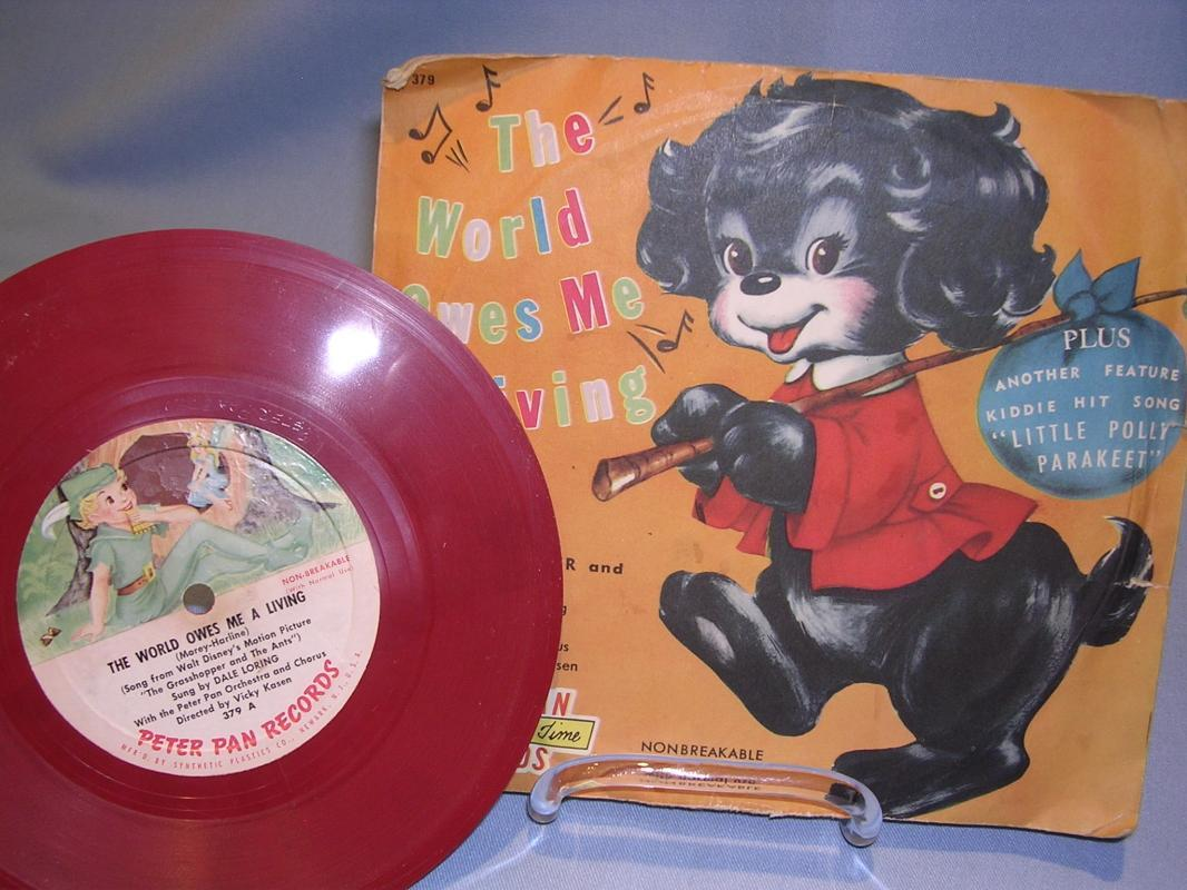THE WORLD OWES ME A LIVING FROM THE GRASSHOPPER AND THE ANTS CHILD'S 78 RPM RED VINYL Peter Pan Record