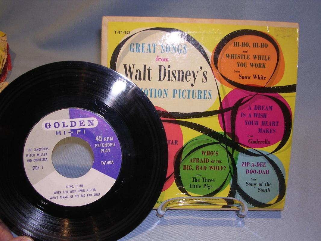 GREAT SONGS FROM DISNEY'S MOTION PICTURES CHILDRENS  45 RPM RECORD 1957