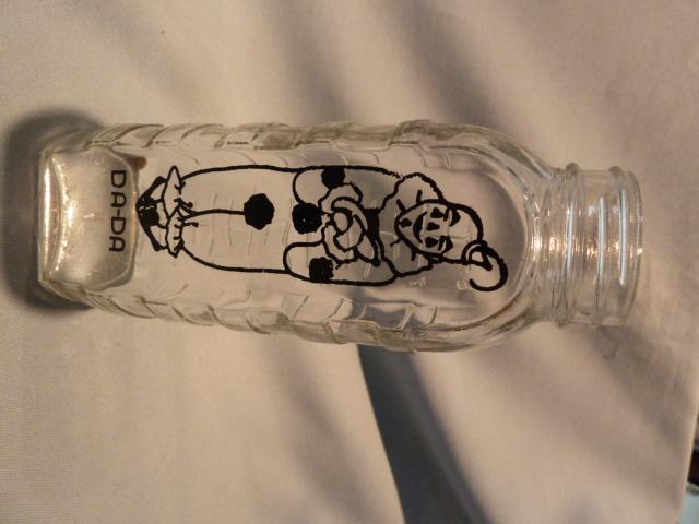 SAMUEL CALLETTE & CO GLASS 8 oz  BABY BOTTLE BLACK PYRO CLOWN DA-DA