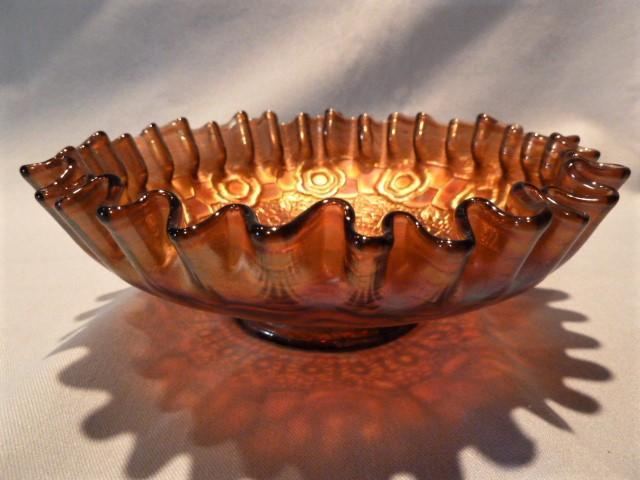 FENTON CAPTIVE ROSE CRIMPED EDGE CARNIVAL BOWL AMBER