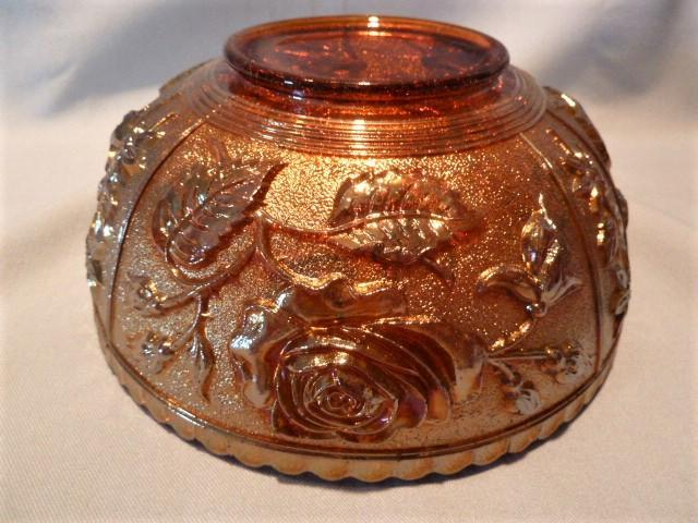 IMPERIAL GLASS RUBI-GOLD  OPEN ROSE CARNIVAL BOWL