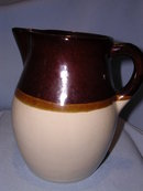 ROBINSON RANSBOTTOM ROSEVILLE POTTERY BROWN AND TAN 1 QT PITCHER