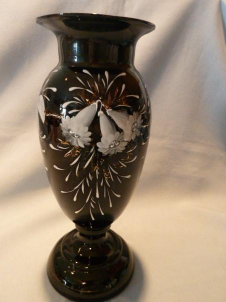 VINTAGE DEEP RUBY Enameled  Glass Hand Blown Vase with Painted   Enamel Lilly Flowers