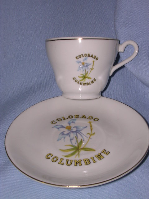 COLUMBINE, COLORADO SOUVENIR  CUP AND SAUCER