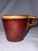HULL POTTERY MIRROR HOUSE AND GARDEN BROWN DRIP  CUP MUG