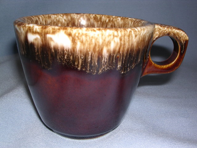 HULL POTTERY MIRROR HOUSE AND GARDEN BROWN DRIP  COFFEE MUG