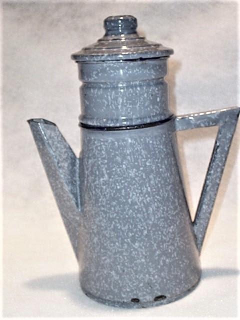 Antique 4 Piece Enamel Graniteware Gray Grey  French Coffee Pot