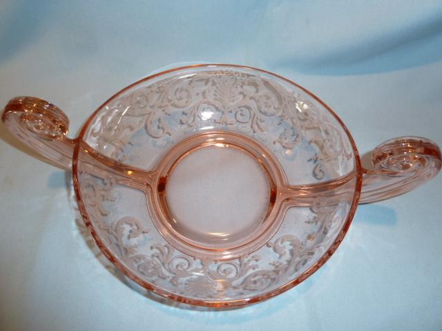ELEGANT FOSTORIA VERSAILLES PINK BLOWN GLASS SCROLL HANDLE 14