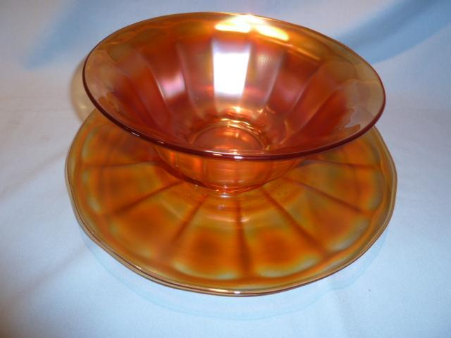 IMPERIAL CARNIVAL  WIDE PANEL MARIGOLD LARGE SALAD BOWL WITH UNDER PLATE