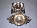 ENGLISH   SILVER PLATE  2 PIECE TEA STRAINER