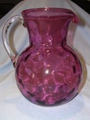 VINTAGE CRANBERRY THUMBPRINT HAND BLOWN GLASS PITCHER
