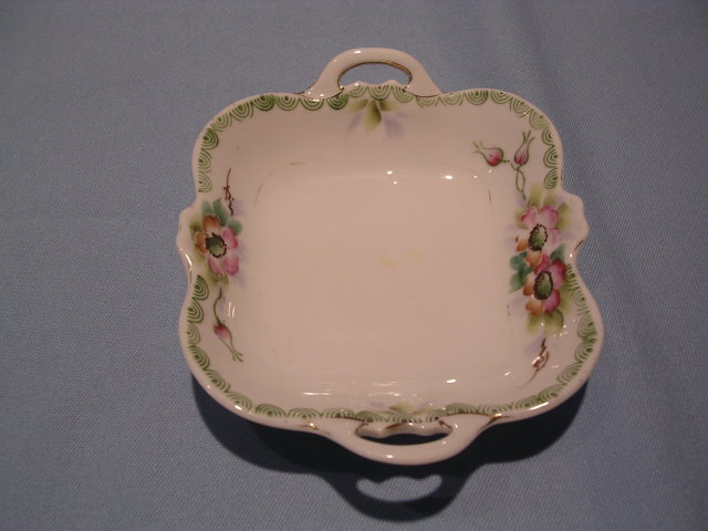 HANDPAINTED NIPPON SQUARE FLORAL HANDLED SMALL  DISH