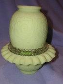 FENTON PERSIAN MEDALION GREEN SATIN GLASS THREE PIECE FAIRY LAMP