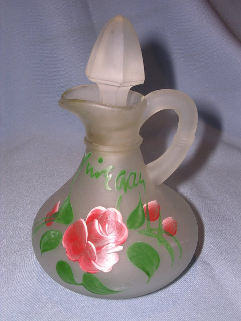 OLD SATIN GLASS ENAMEL PAINTED  ROSE VINEGAR CRUET