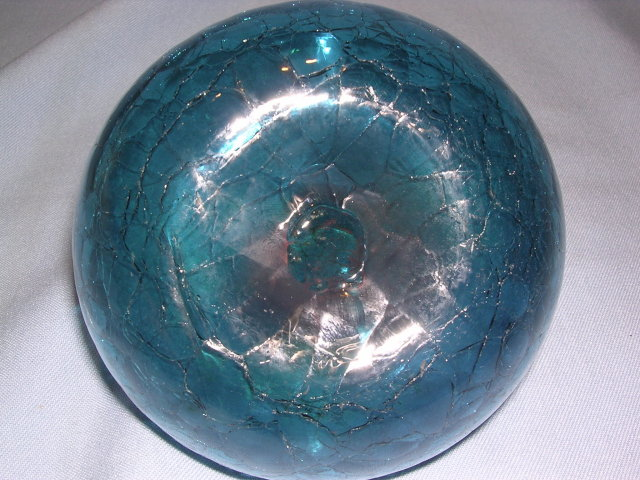 BLENKO BLUE CRACKLE PINCH VASE BOWL