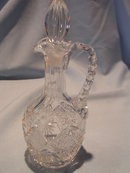 BEAUTIFUL GLASS CRYSTAL CUT CRUET WITH STOPPER  POLAND