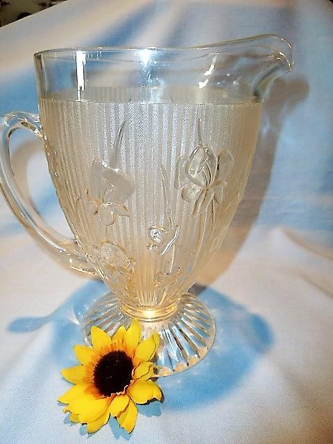 JEANNETTE IRIS & HERRINGBONE CLEAR  FOOTED PITCHER  AND GLASSES CRYSTAL