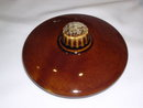 HULL HOUSE AND GARDEN MIRROR BROWN COVERED FRENCH CASSEROLE WITH HANDLE