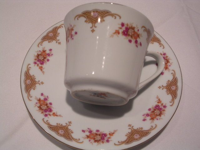 LATTICE DESIGN  PINK  FLORAL CUP AND SAUCER