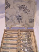 SET OF SIX  SHEFFIELD SILVER PLATE PASTRY FORKS IN WESTMINSTER ABBY GIFT BOX