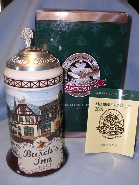 THE ANHEISER BUSCH COLLECTORS CLUB 2002 MEMBERSHIP STEIN BUSCH'S INN 1914  MIB