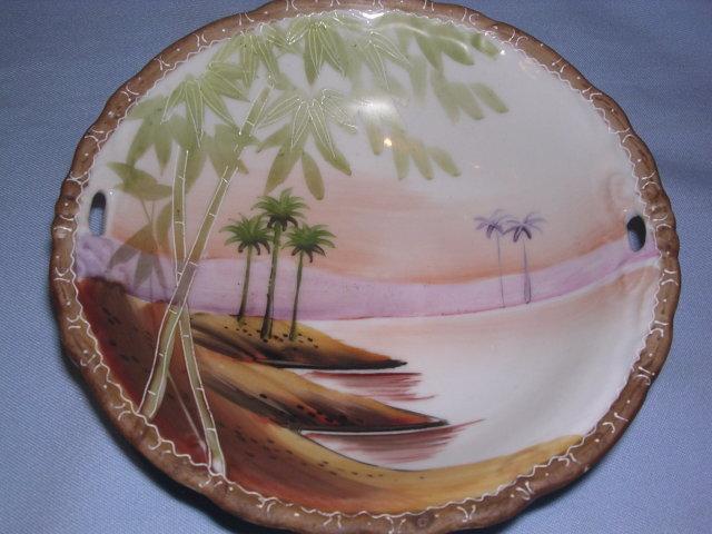 NIPPON  DESERT  OASIS TORII  OPEN HANDLE BOWL c. 1910