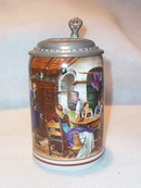 German Porcelain Tavern Scene Stein with Decorated Lid