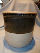 OLD BROWN AND TAN OPEN TOP CROCK 2 GALLON