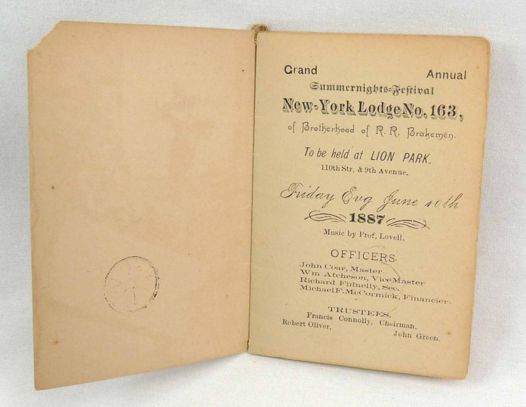 1887 Train Brotherhood of Railroad Brakemen New York Lodge 163 Festival Booklet