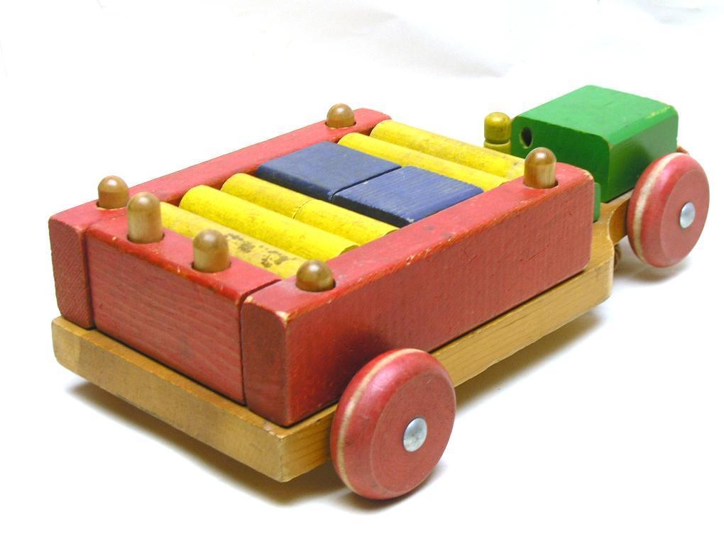 Vintage 1950s Playskool Wood Pull Toy W Wood Blocks