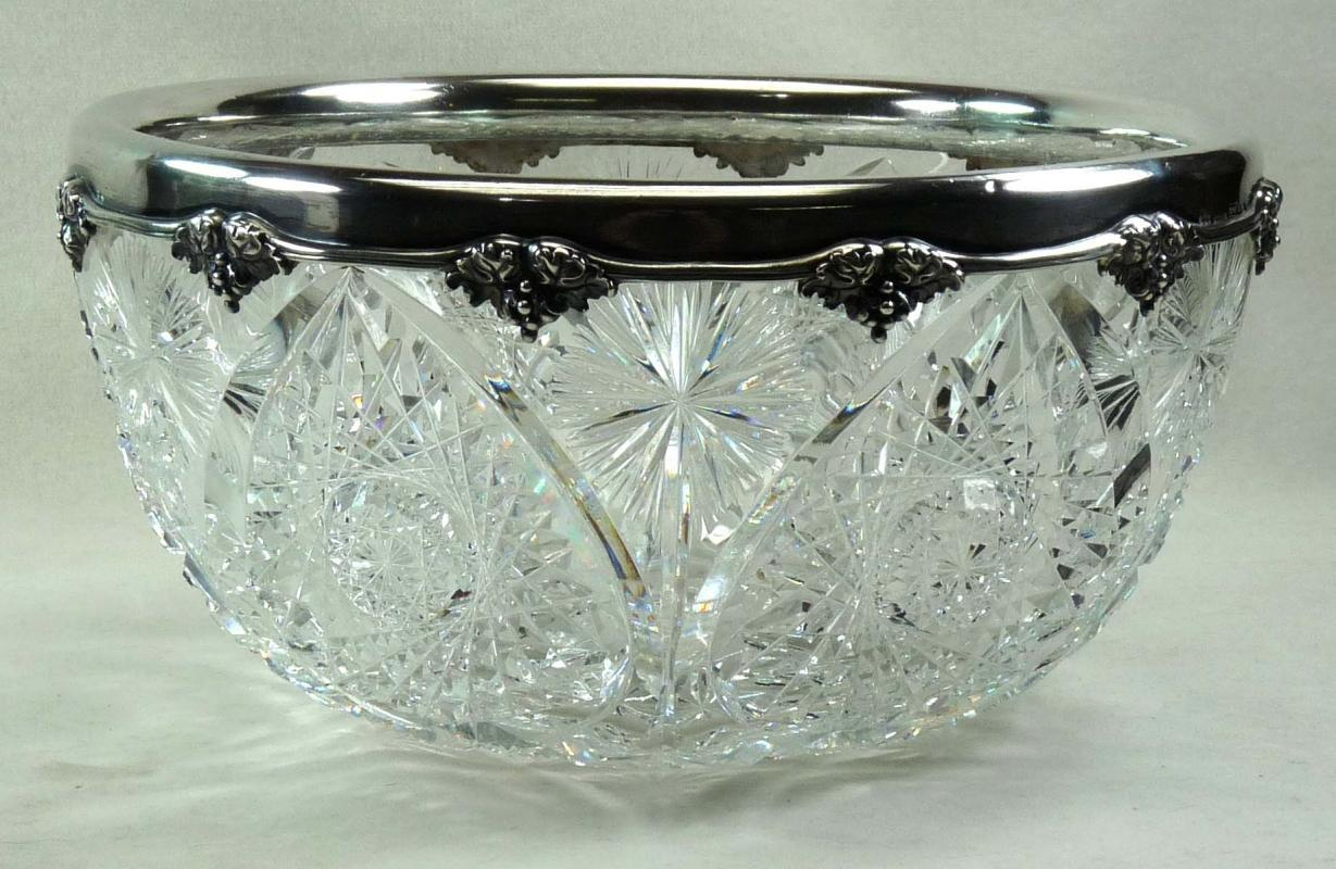 1905 American Brilliant Cut Glass GORHAM Sterling Bowl