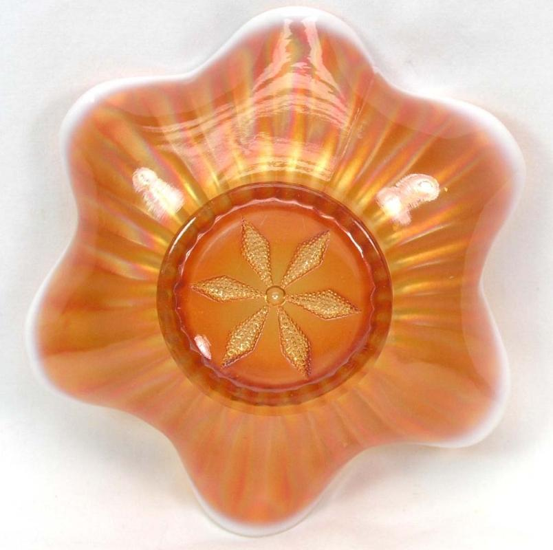 DUGAN Carnival STIPPLED FLOWER Peach Opalescent Bowl 8