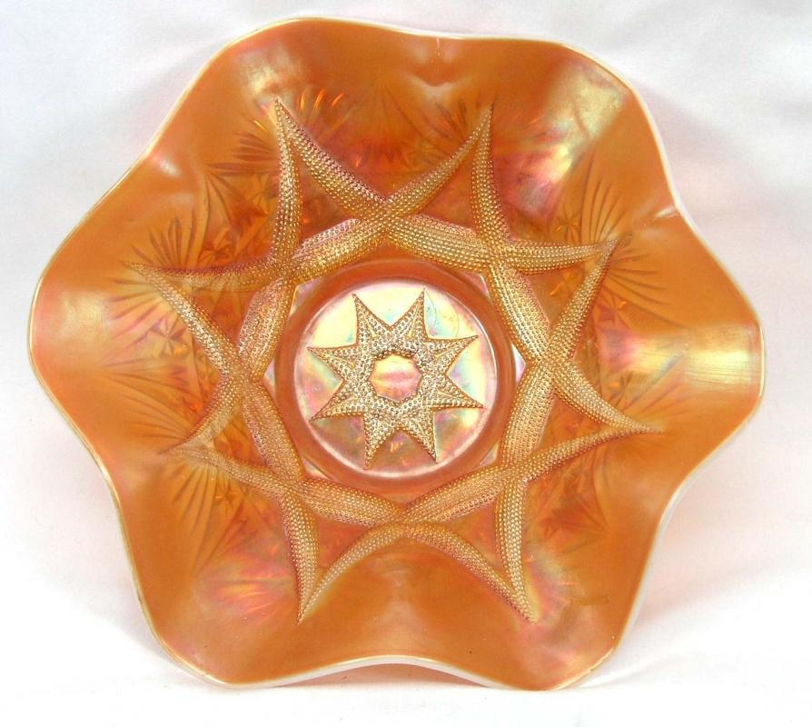 DUGAN Carnival SKI STAR COMPASS Peach Opalescent Bowl